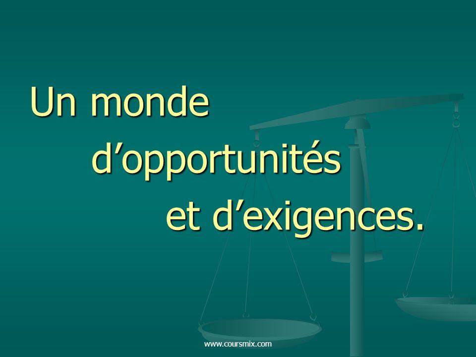 Un monde d'opportunités et d'exigences. www.coursmix.com