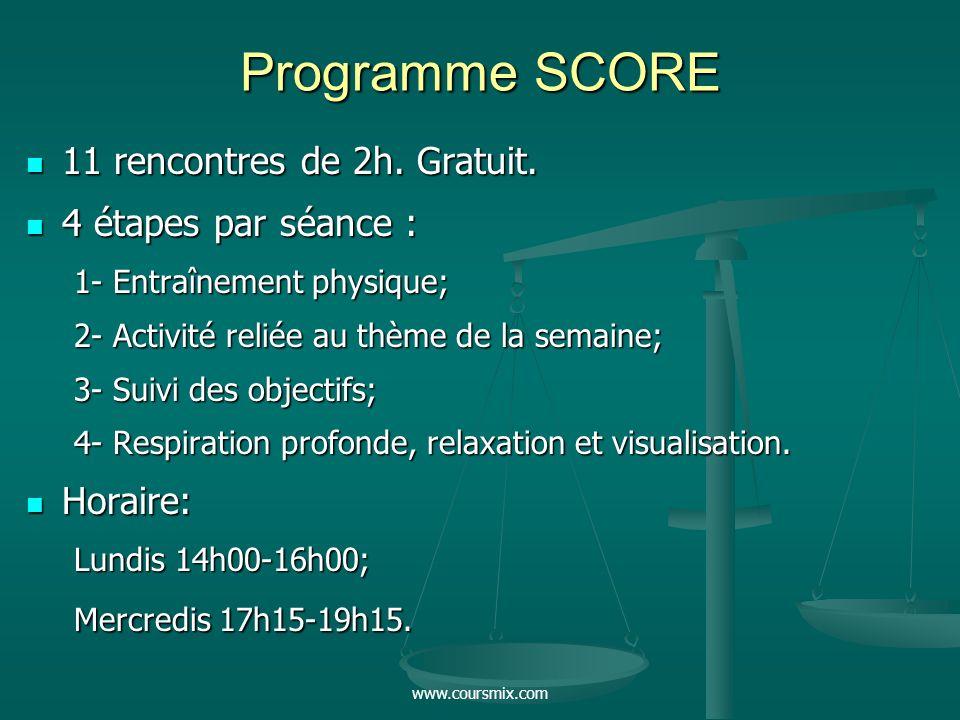 Programme SCORE 11 rencontres de 2h. Gratuit. 4 étapes par séance :