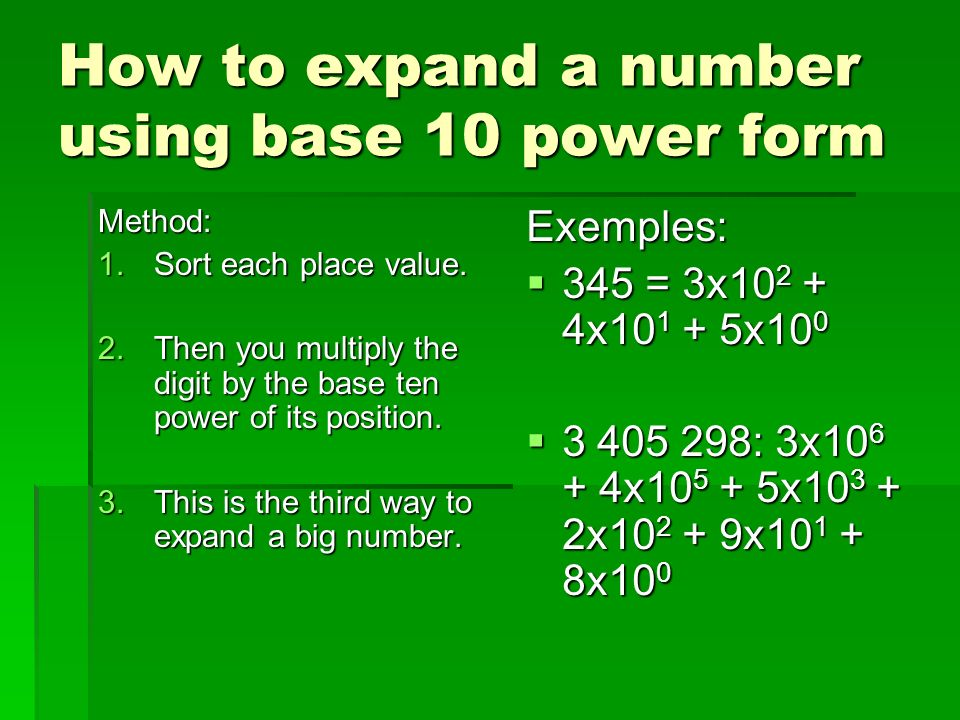 How to expand a number using base 10 power form