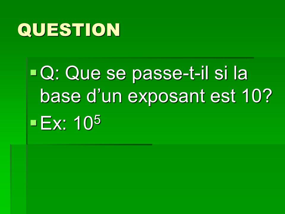 Q: Que se passe-t-il si la base d'un exposant est 10 Ex: 105