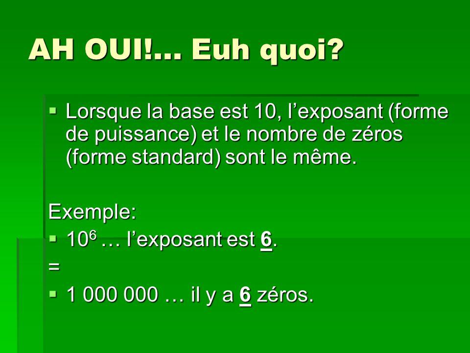 AH OUI!... Euh quoi Lorsque la base est 10, l'exposant (forme de puissance) et le nombre de zéros (forme standard) sont le même.