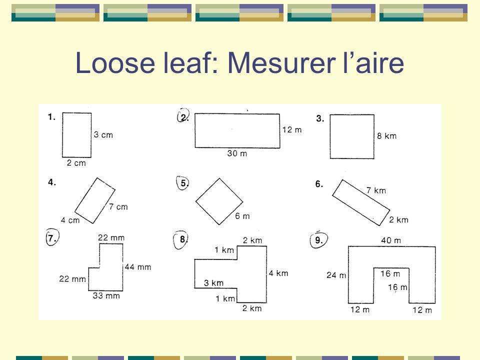 Loose leaf: Mesurer l'aire