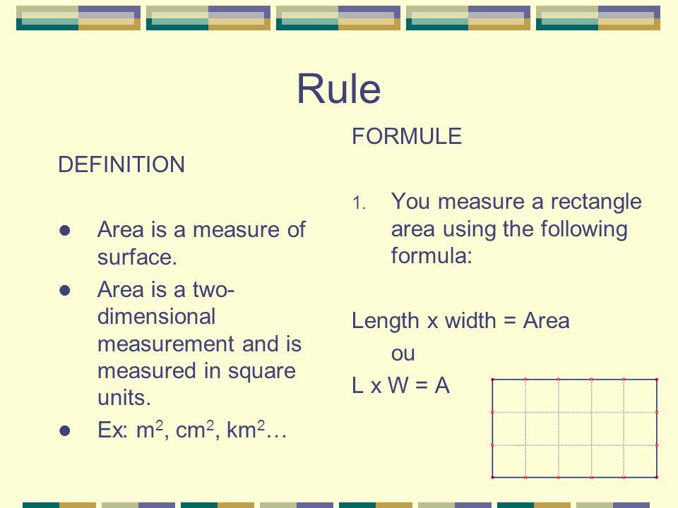 Rule FORMULE DEFINITION