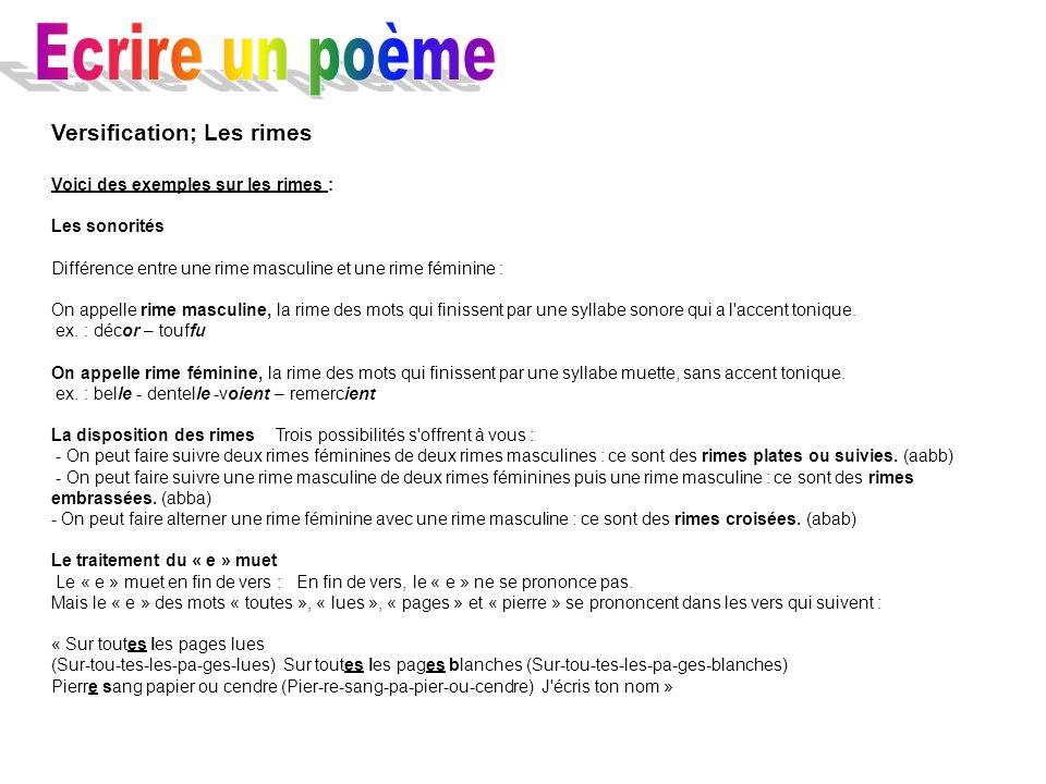 Ecrire un poème Versification; Les rimes