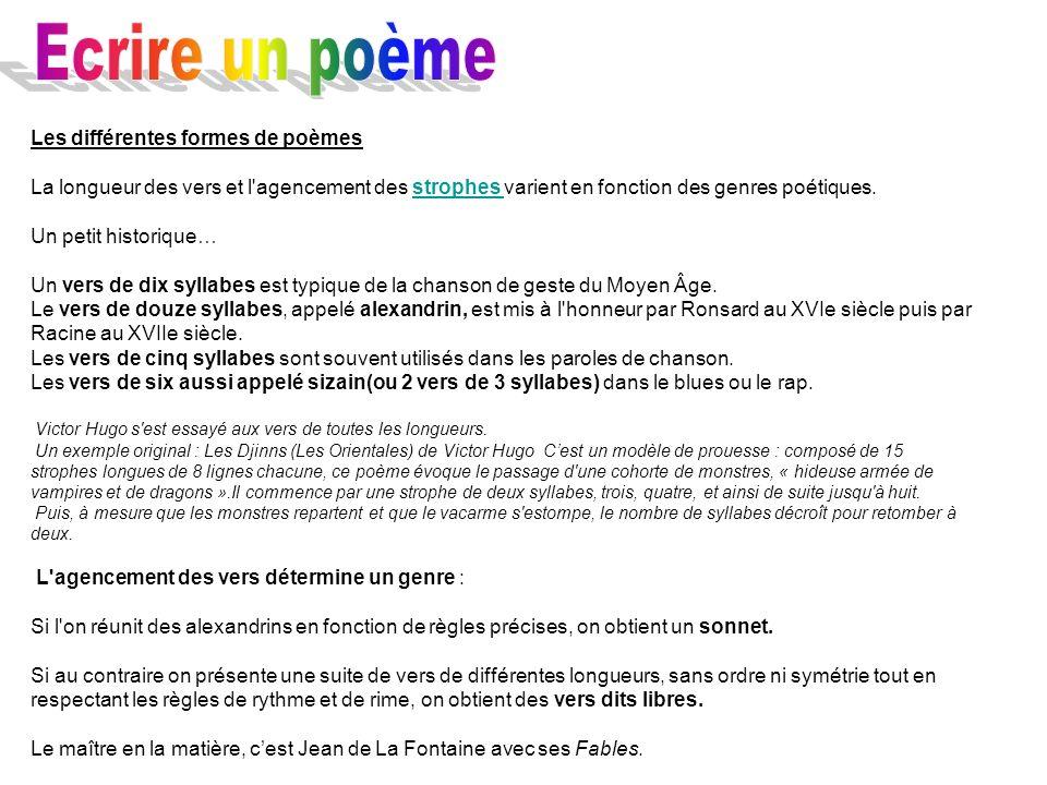 Ecrire un poème Les différentes formes de poèmes