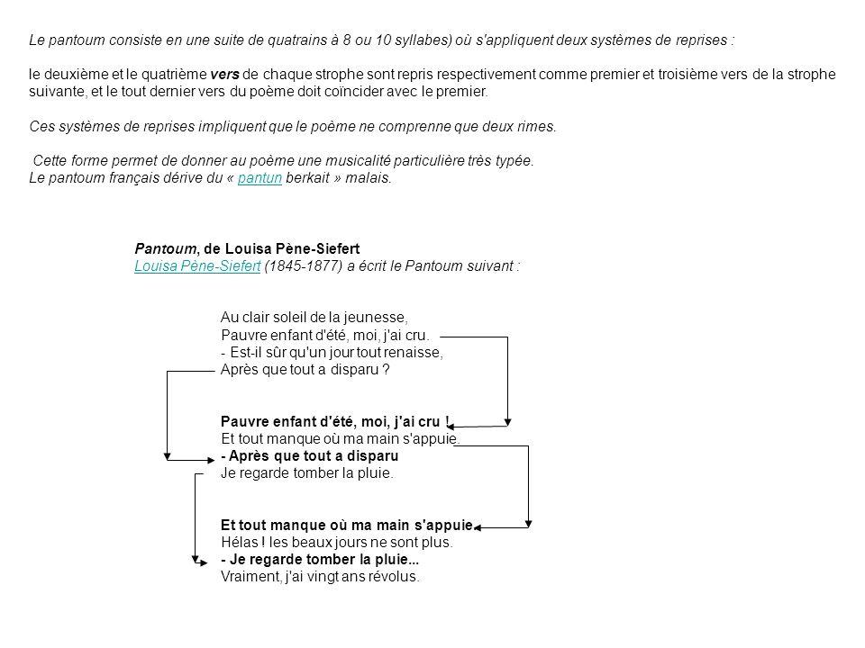 Le pantoum consiste en une suite de quatrains à 8 ou 10 syllabes) où s appliquent deux systèmes de reprises :