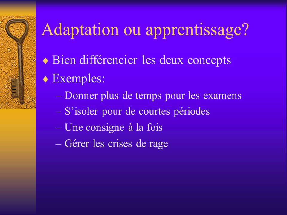 Adaptation ou apprentissage
