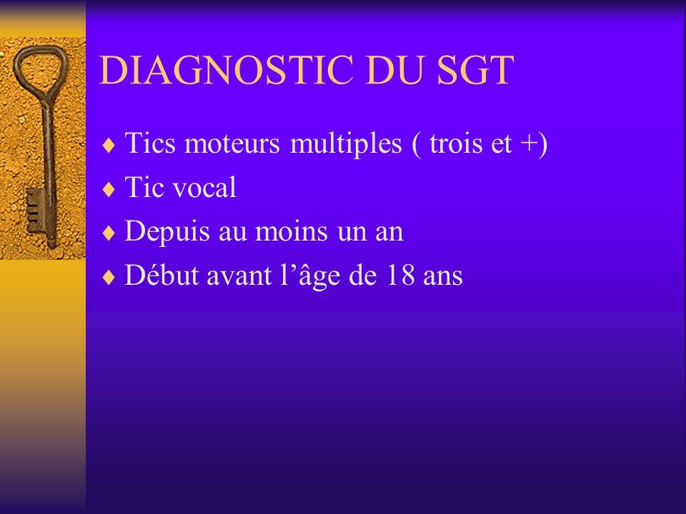 DIAGNOSTIC DU SGT Tics moteurs multiples ( trois et +) Tic vocal