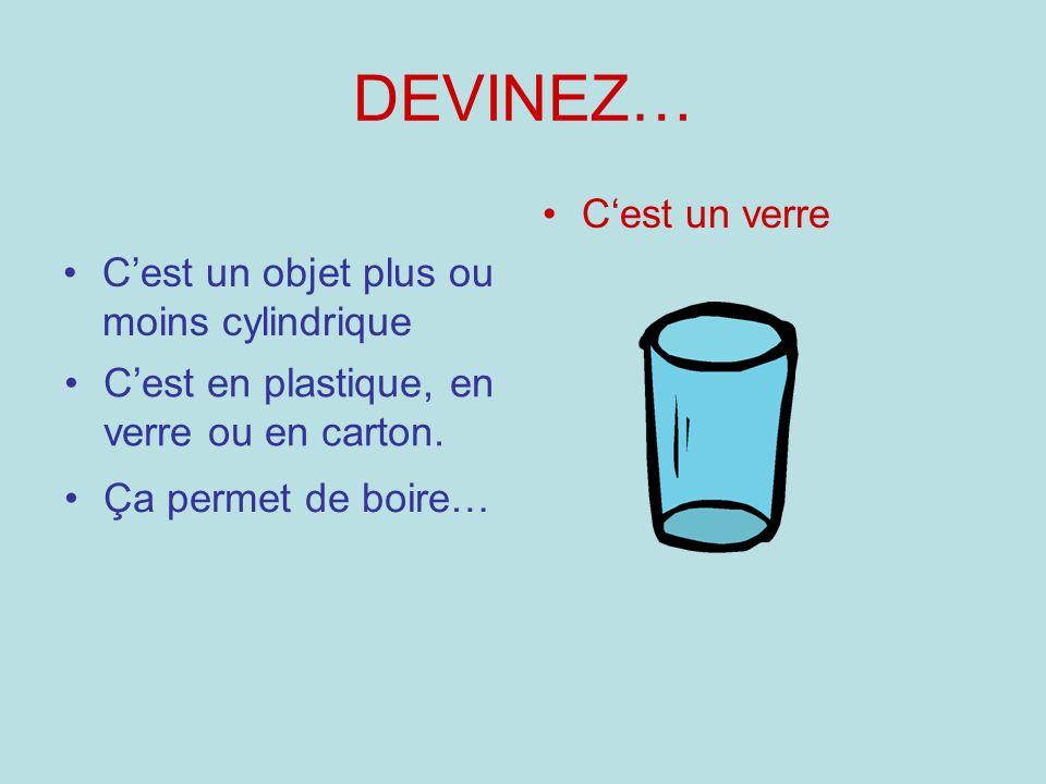 DEVINEZ… C'est un verre C'est un objet plus ou moins cylindrique