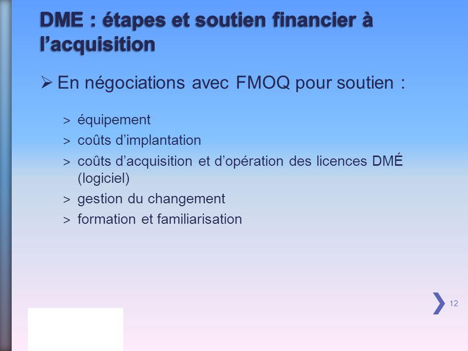 DME : étapes et soutien financier à l'acquisition