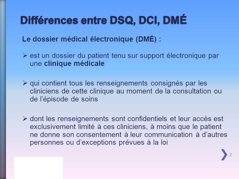 Différences entre DSQ, DCI, DMÉ