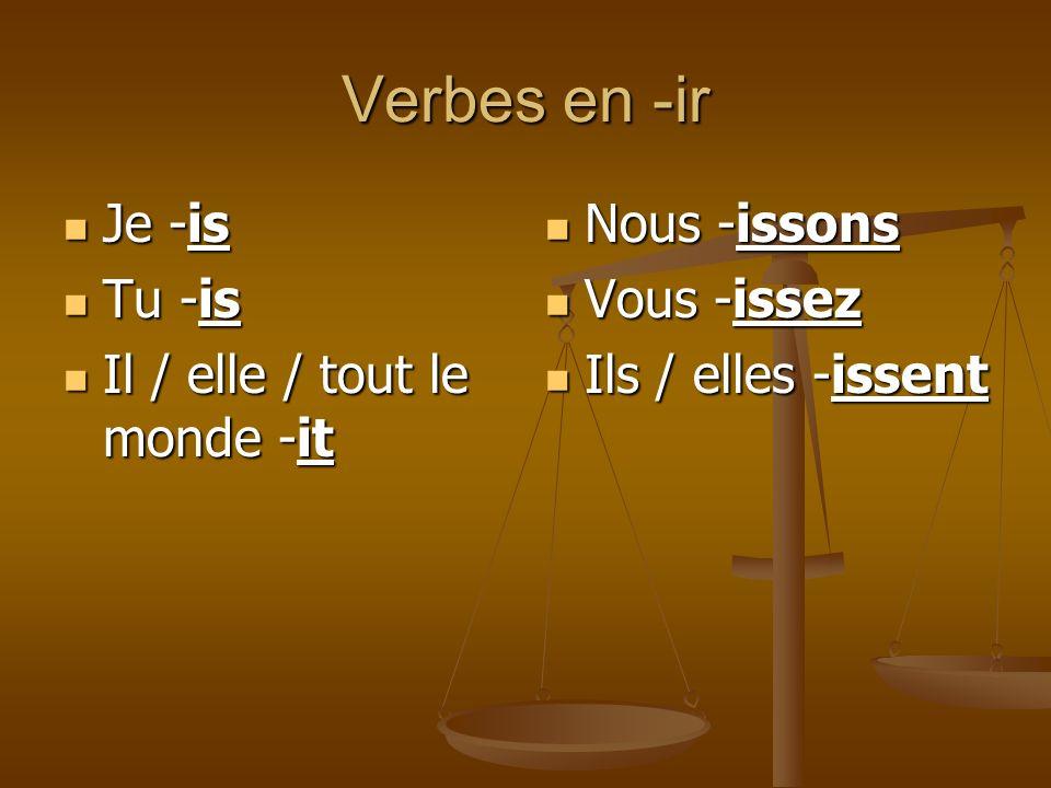 Verbes en -ir Je -is Tu -is Il / elle / tout le monde -it Nous -issons