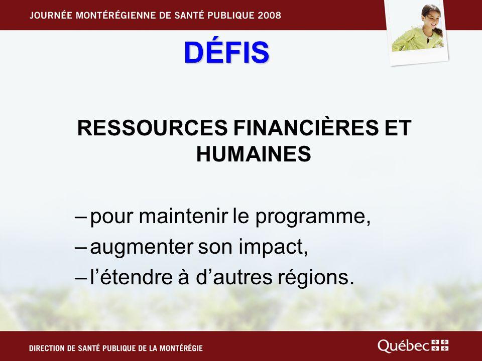 RESSOURCES FINANCIÈRES ET HUMAINES