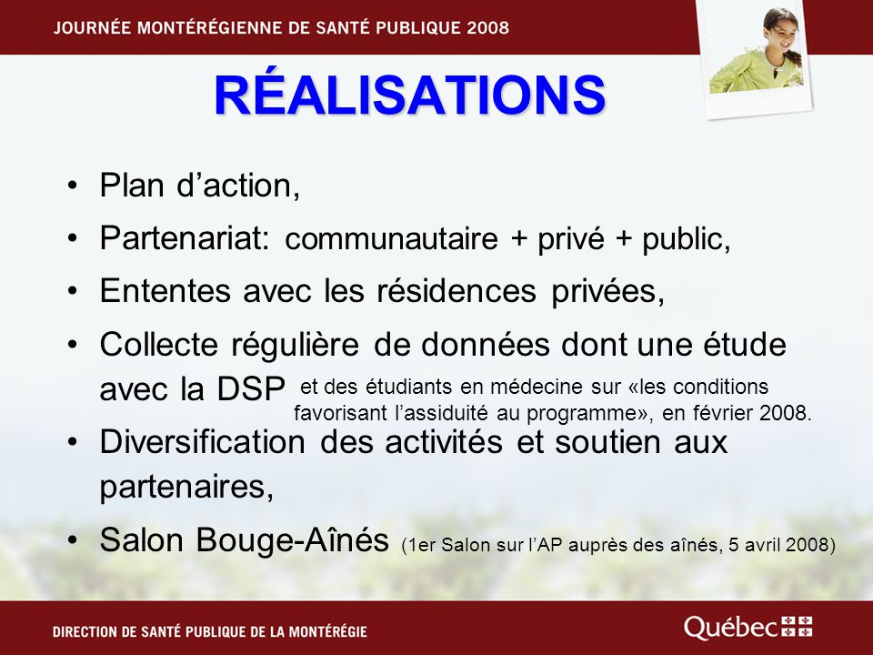 RÉALISATIONS Plan d'action,