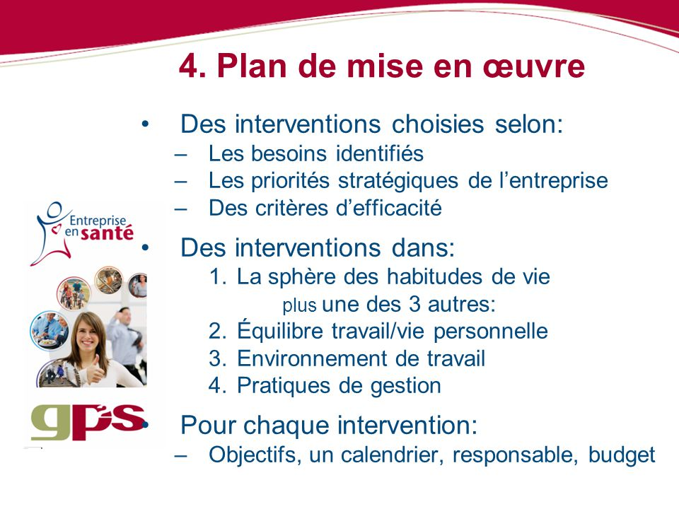 4. Plan de mise en œuvre Des interventions choisies selon: