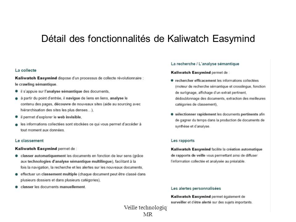 Détail des fonctionnalités de Kaliwatch Easymind