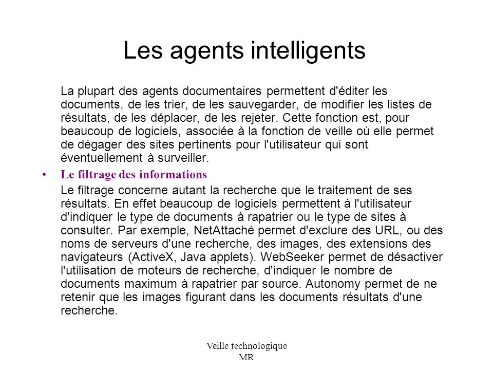 Les agents intelligents
