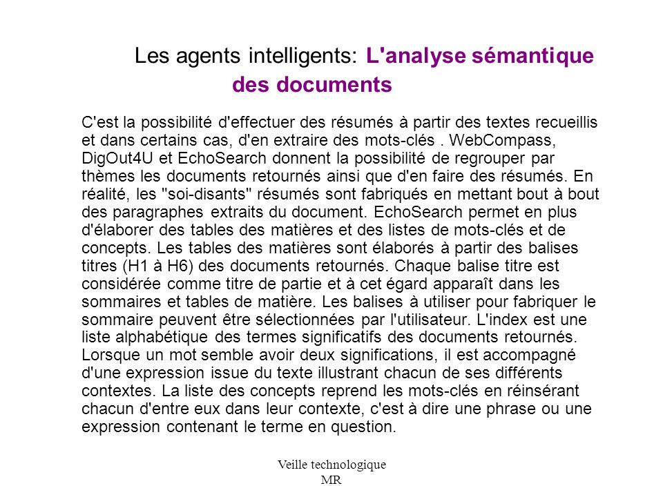 Les agents intelligents: L analyse sémantique des documents