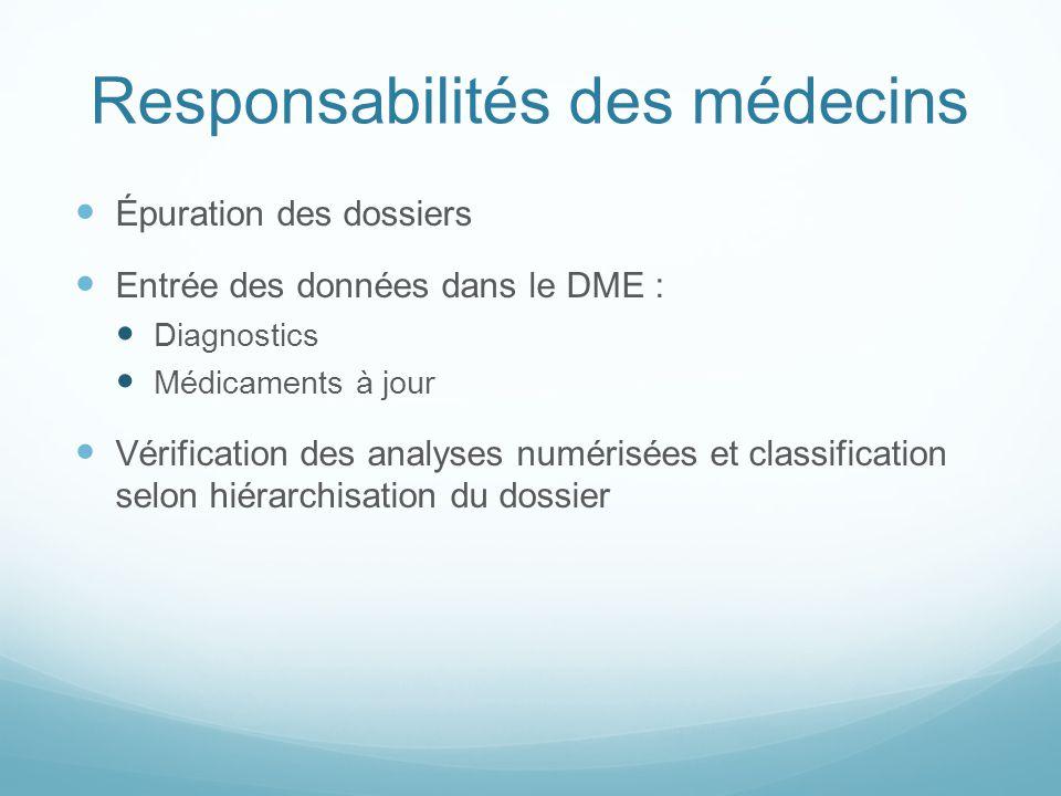 Responsabilités des médecins