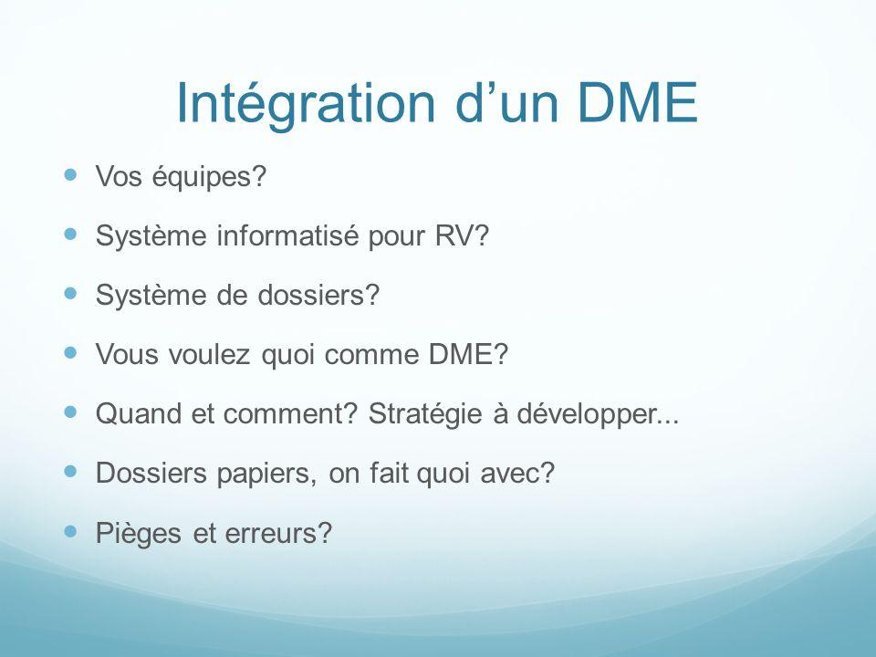 Intégration d'un DME Vos équipes Système informatisé pour RV