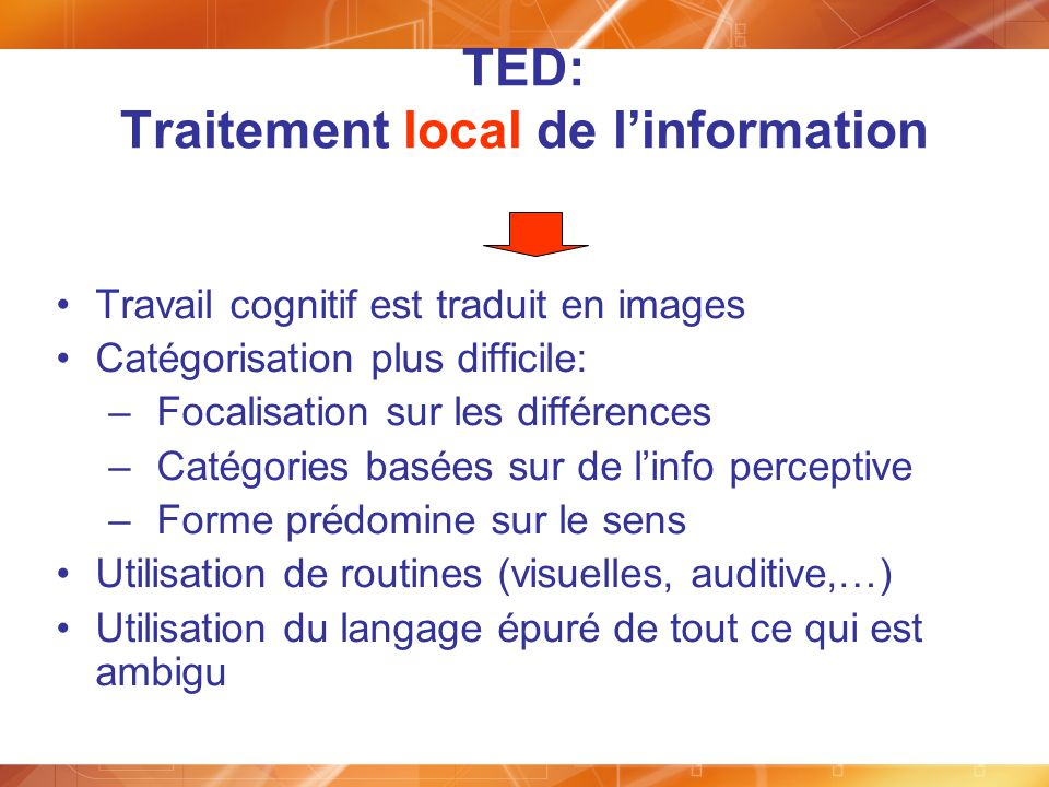 TED: Traitement local de l'information