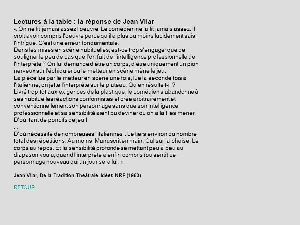 Lectures à la table : la réponse de Jean Vilar