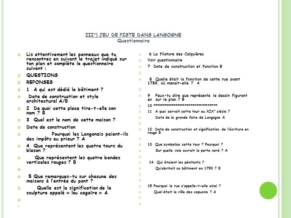 III°) JEU DE PISTE DANS LANGOGNE Questionnaire