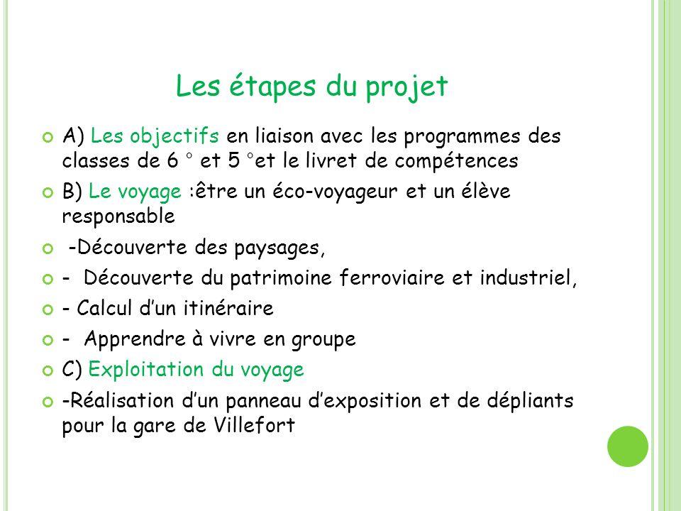 Les étapes du projet A) Les objectifs en liaison avec les programmes des classes de 6 ° et 5 °et le livret de compétences.