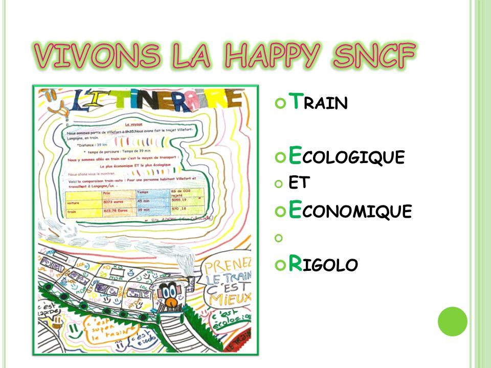 VIVONS LA HAPPY SNCF TRAIN ECOLOGIQUE ET ECONOMIQUE RIGOLO