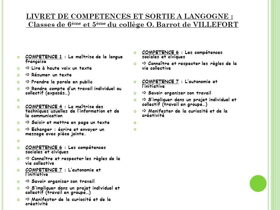 LIVRET DE COMPETENCES ET SORTIE A LANGOGNE :