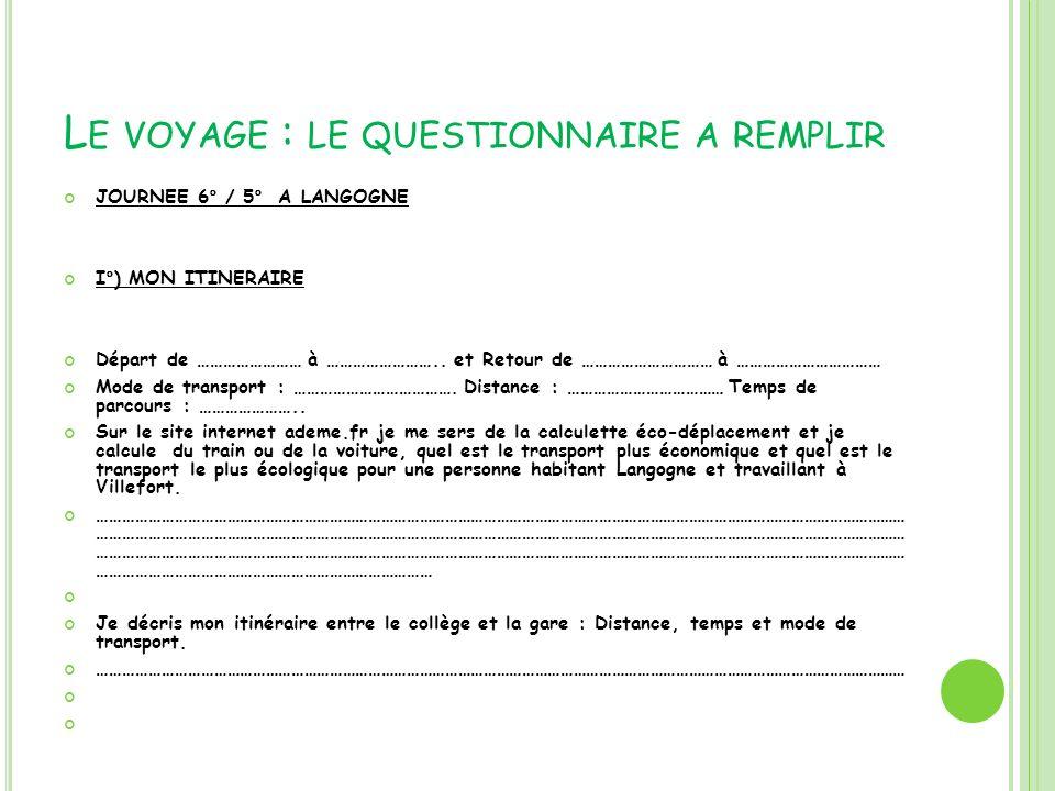 Le voyage : le questionnaire a remplir