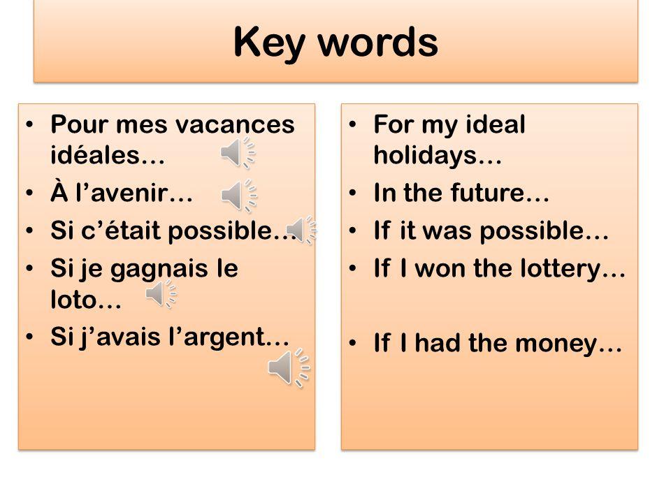 Key words Pour mes vacances idéales… À l'avenir… Si c'était possible…