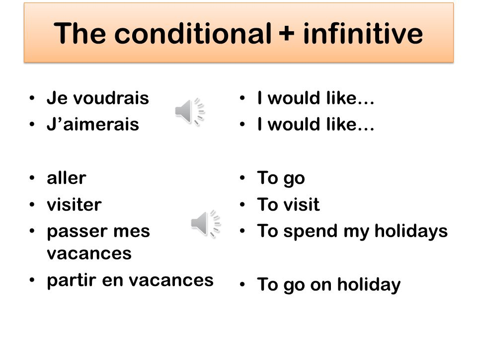 The conditional + infinitive