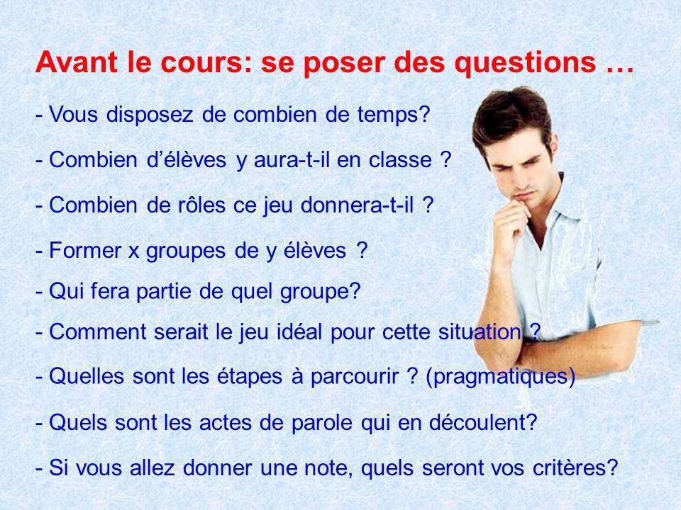 Avant le cours: se poser des questions …