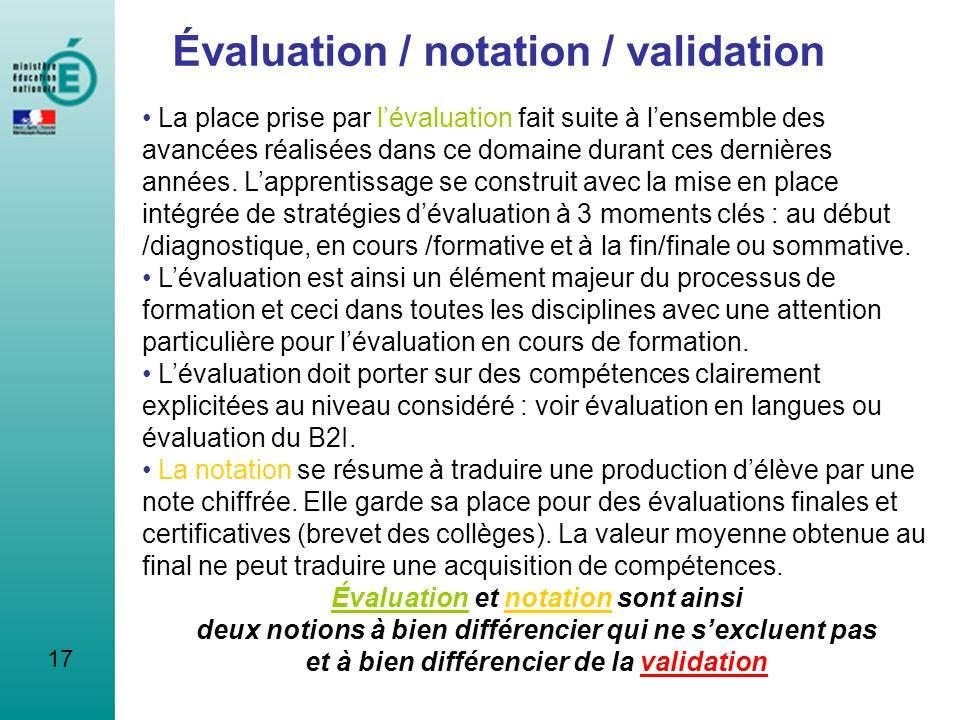 Évaluation / notation / validation
