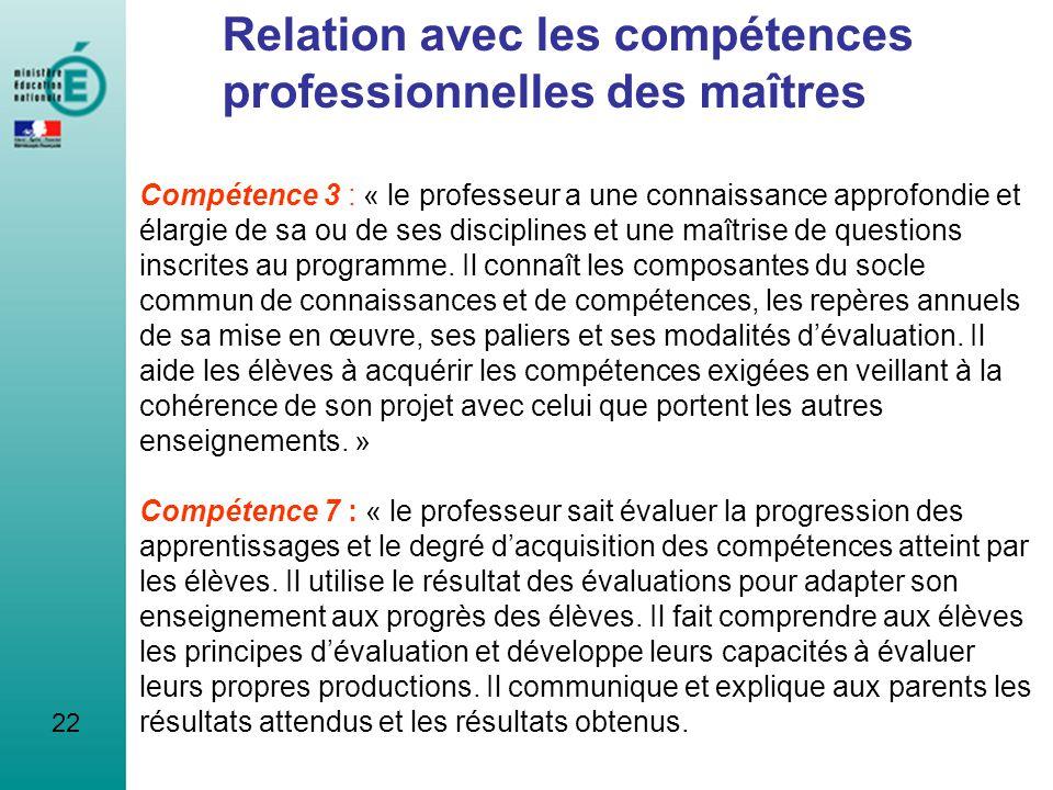 Relation avec les compétences professionnelles des maîtres