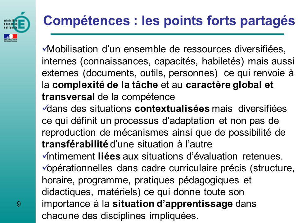 Compétences : les points forts partagés