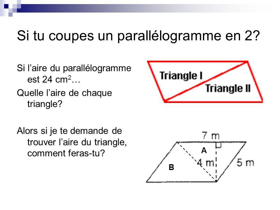 Si tu coupes un parallélogramme en 2