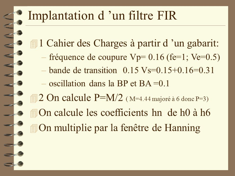 Implantation d 'un filtre FIR