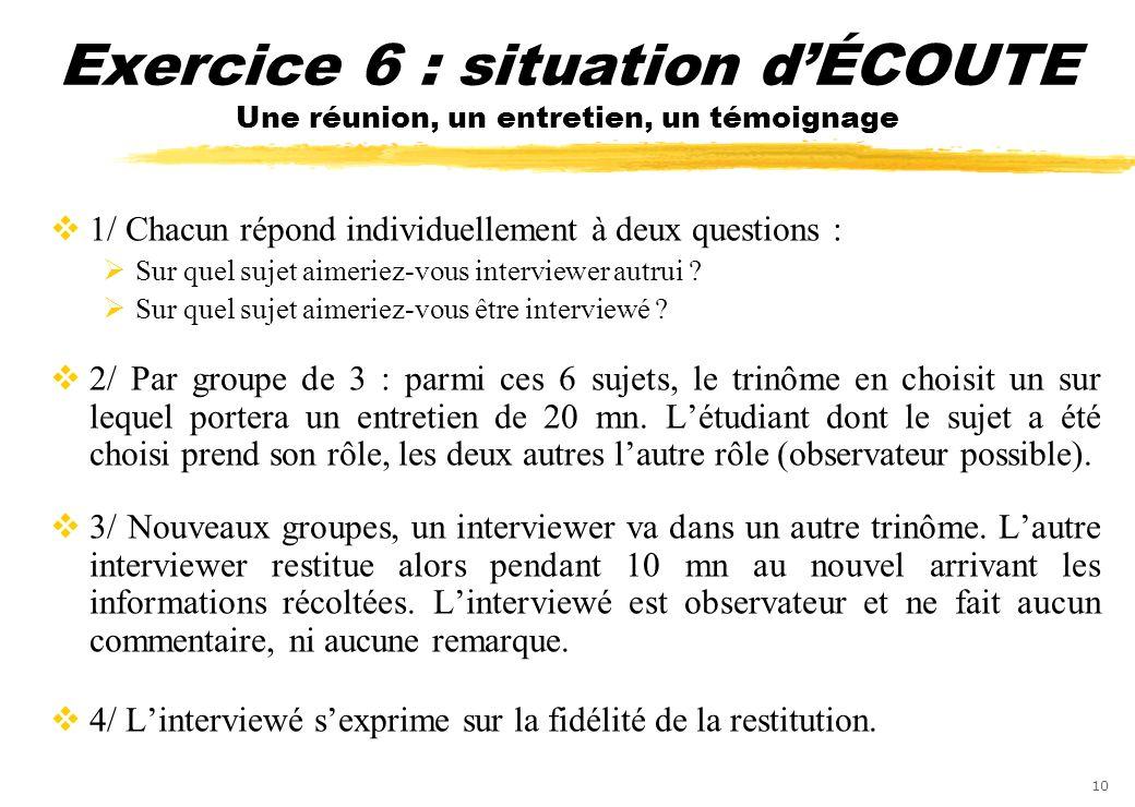 Exercice 6 : situation d'ÉCOUTE Une réunion, un entretien, un témoignage