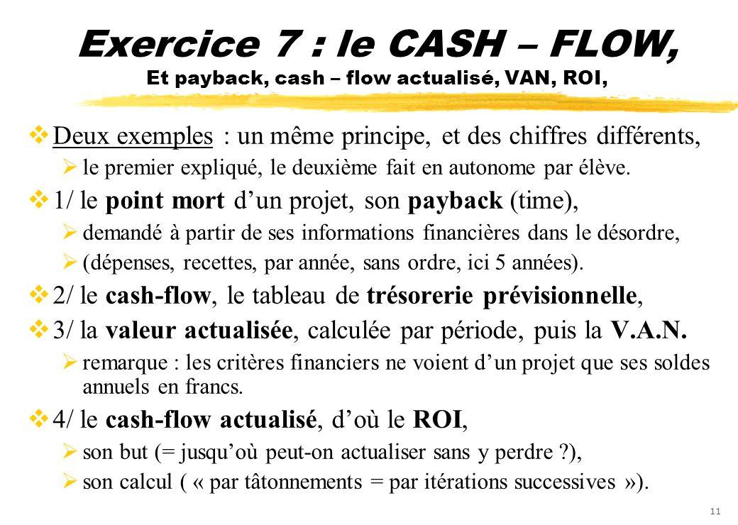 Exercice 7 : le CASH – FLOW, Et payback, cash – flow actualisé, VAN, ROI,