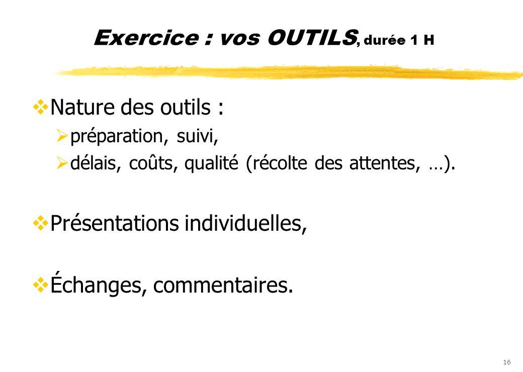 Exercice : vos OUTILS, durée 1 H