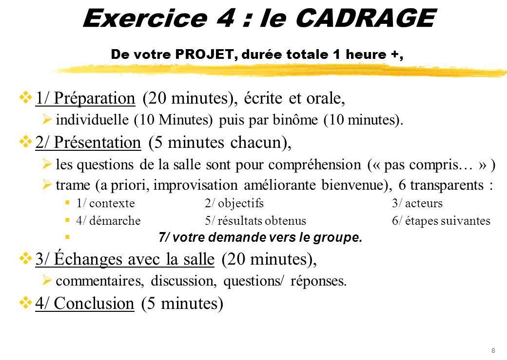 Exercice 4 : le CADRAGE De votre PROJET, durée totale 1 heure +,