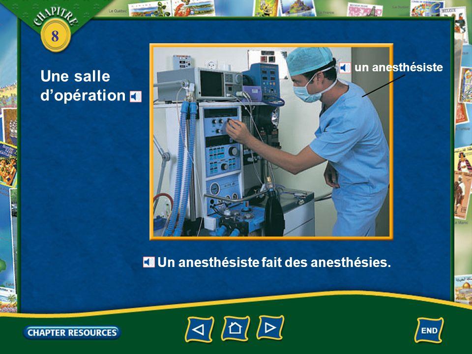 Une salle d'opération Un anesthésiste fait des anesthésies.