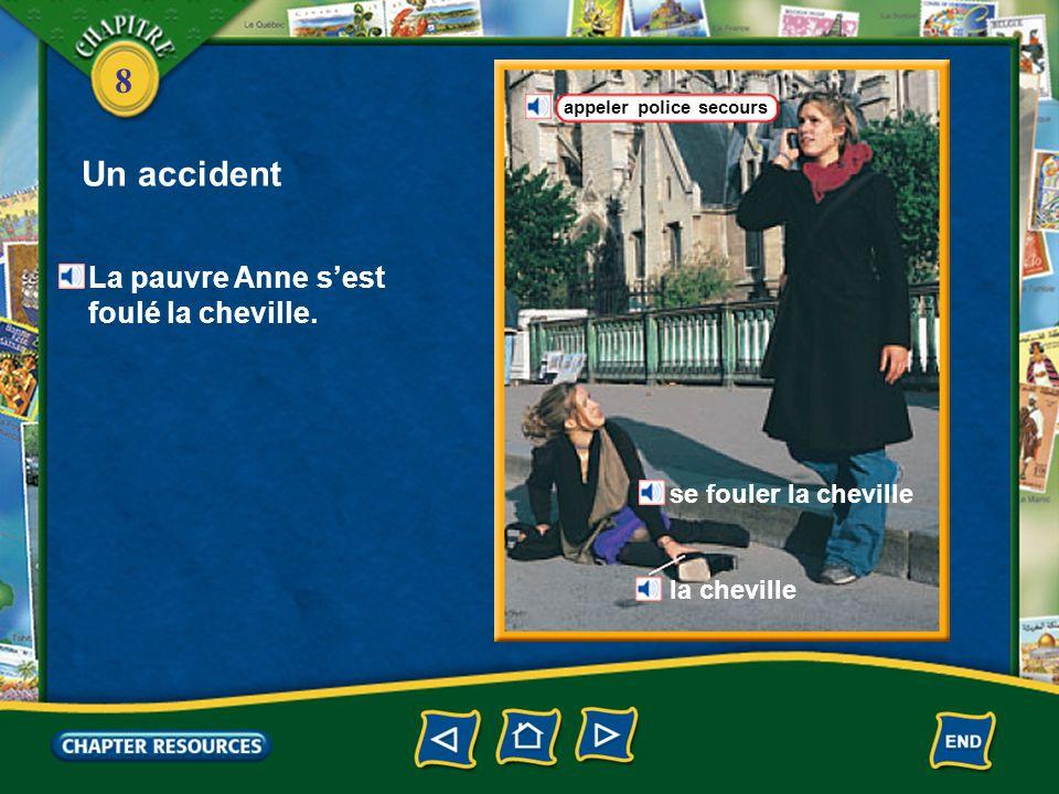 Un accident La pauvre Anne s'est foulé la cheville.