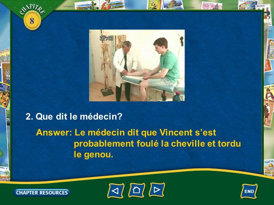 2. Que dit le médecin Answer: Le médecin dit que Vincent s'est. probablement foulé la cheville et tordu.