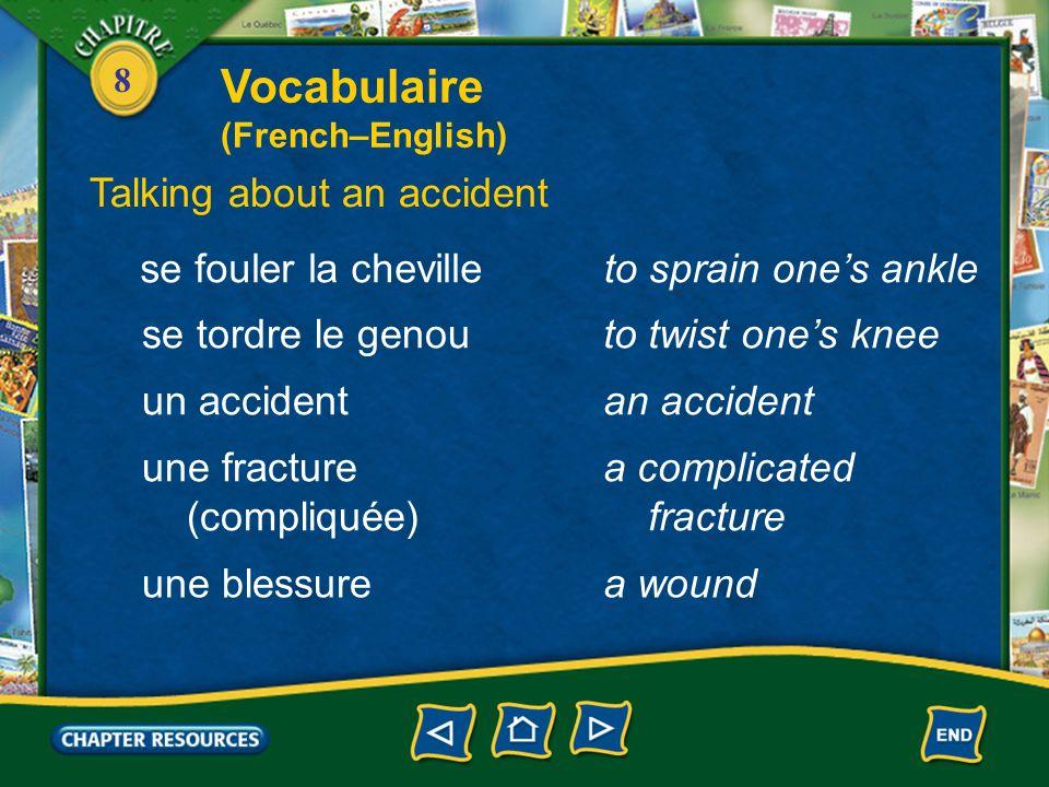 Vocabulaire Talking about an accident se fouler la cheville