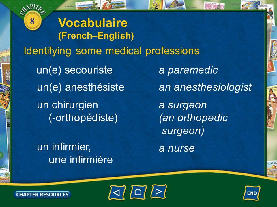 Vocabulaire Identifying some medical professions un(e) secouriste