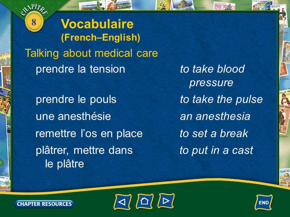 Vocabulaire Talking about medical care prendre la tension