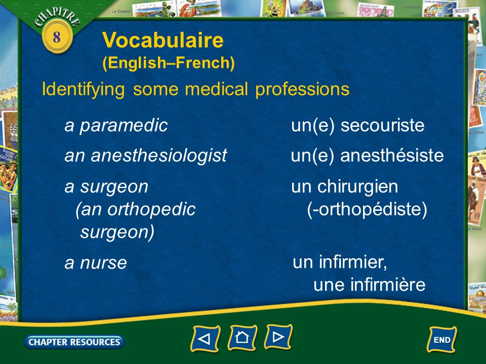Vocabulaire Identifying some medical professions a paramedic
